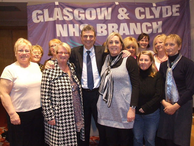 Dave Prentis with UNISON health members at the Public Works rally in Glasgow 6 Feb 2010
