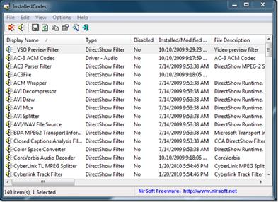 InstalledCodecs