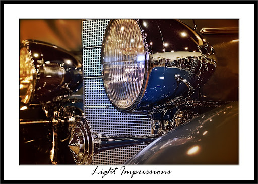 Light Impressions of Antique Car Headlight Grill and Horn Nethercutt Collection Los Angeles California