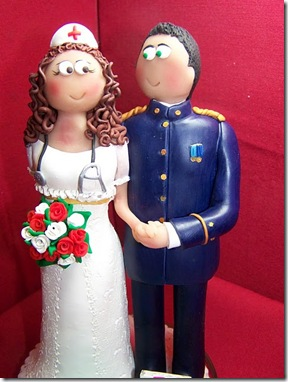 Figura Novios Tarta Bodas militar y enfermera 6442