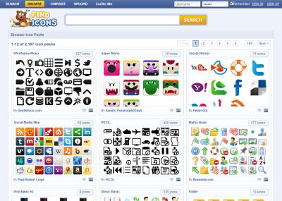 FindIcons.com アイコンパックで検索
