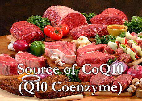 Meat and other foods are sources of CoQ10 or Q10 Coenzyme.