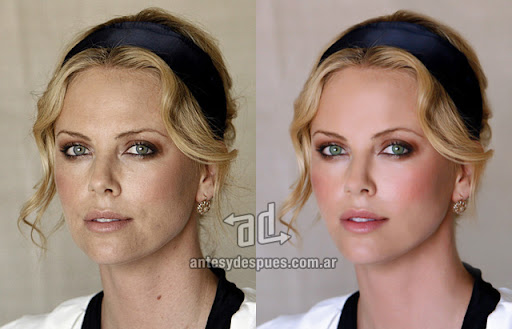 Charlize Theron sin Photoshop