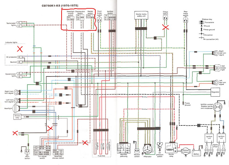 a couple wiring questions modified diagram i have done away two of the indicator lights blinker and highbeam the horn the buzzer and most confusingly for me the right hand switches