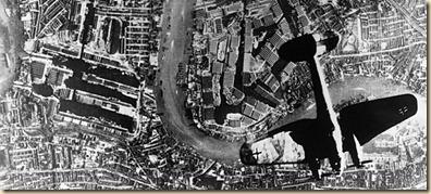 Heinkeil He 111 over the London docks