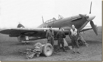 Arguably the victor of the Battle of Britain.  Hawker Hurricane with ground crew and pilot.