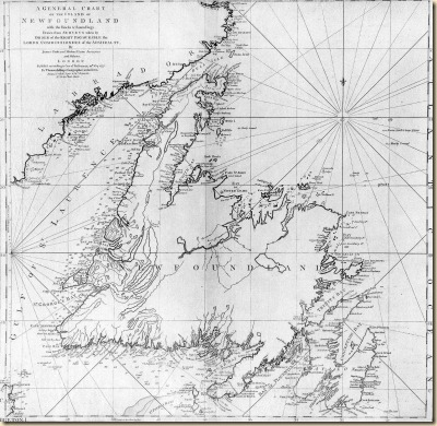 Cooks 1775 chart of Newfoundland.  Used until the 20th Century.