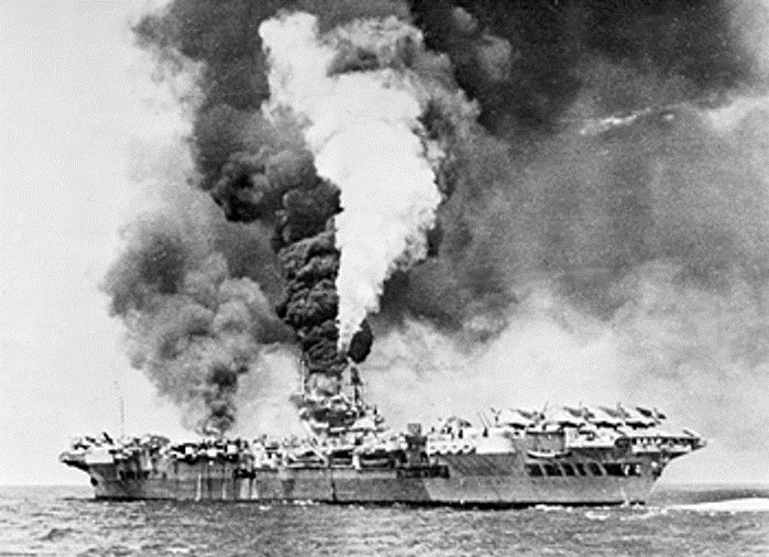 [HMS Victorious on fire after being struck by three kamikazes at the Battle of Okinawa.  Planes could take off an hour later.[8].jpg]