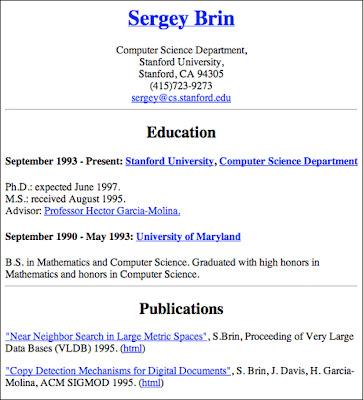 curriculo sergeybrin1 Currículo de um dos fundadores do Google