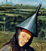 Extracción de la piedra de la locura (El Bosco 1475-1480) detalle del embudo en la cabeza