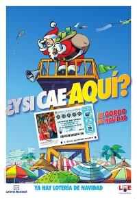 Cartel promocional en el verano para la Lotería de Navidad