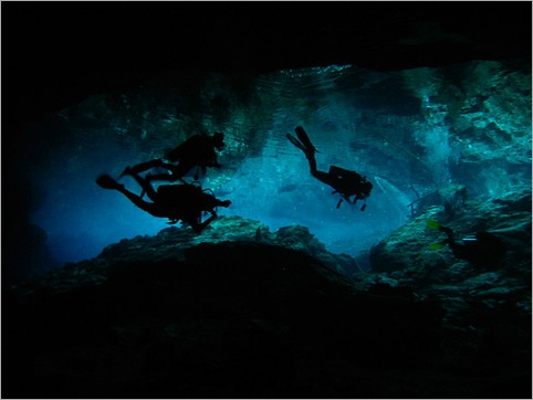 Cavern diving in the Chac Mool cenote in Quintana Roo