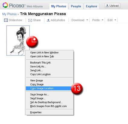 Copy Picasa Image Location
