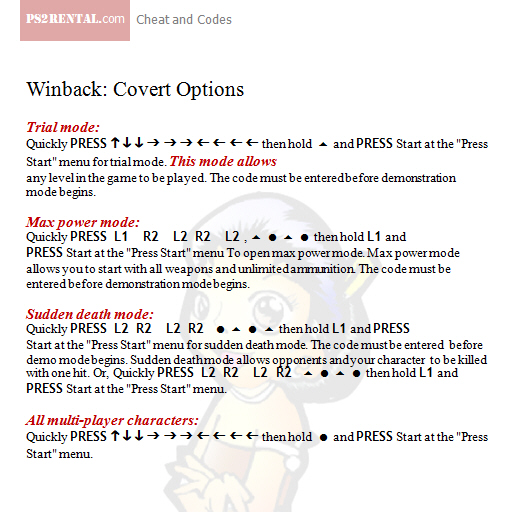 Winback Covert Options ,playstation 2 cheat code reviews features