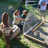 permaculture students working on a chicken tractor