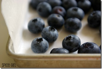 Blueberries on tray
