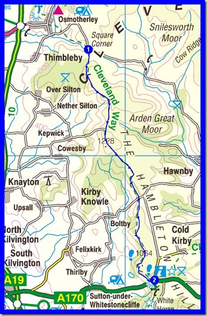 Sunday's route along the Cleveland Way - 16 km, 390 metres ascent, 3.5 hours plus stops