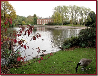 Dunham Massey - the hall, from the entrance path