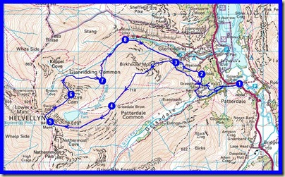 Our route - approx 16 km, 1100 metres ascent, in a leisurely 6.5 hours