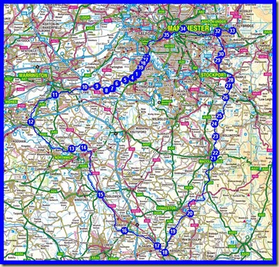The route taken by the Cheshire Ring Canal System (plus the leg to Stalybridge) [102 miles]