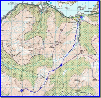 Our route - 20km, 1250 metres ascent, 7.5 hours