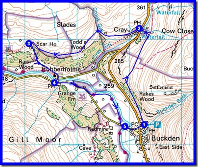 Sunday's route - 8km, 250 metres ascent, 4 hours