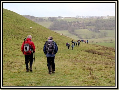 Mick and Colin on the path around Wetton Hill
