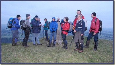 On the summit of Ecton Hill after dusk