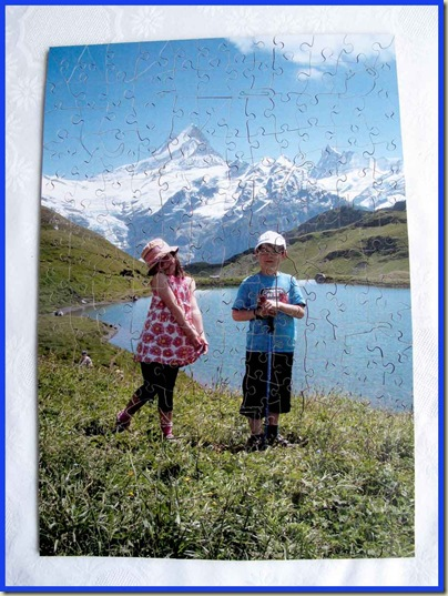 A Christmas Jigsaw - Andrew and Kate by the Bachsee, with Schreckhorn (left) and Finsteraarhorn