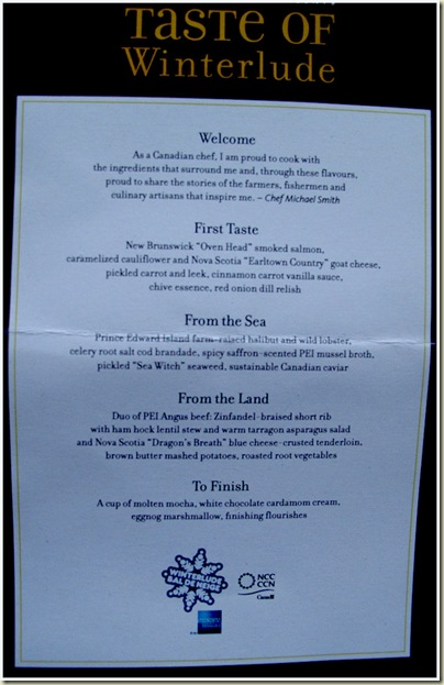 Taste of Winterlude - Menu for 4/2/11