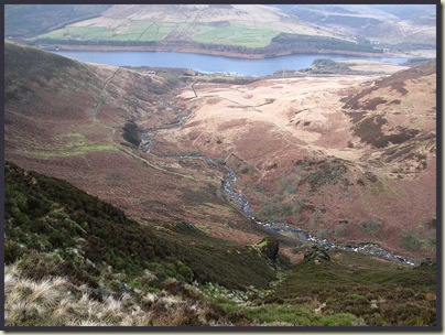 The view to Torside Reservoir from Clough Edge.  Note the spectacular rock gateway