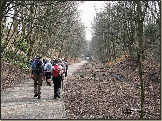 Walkers on the Tyldesley Loop line