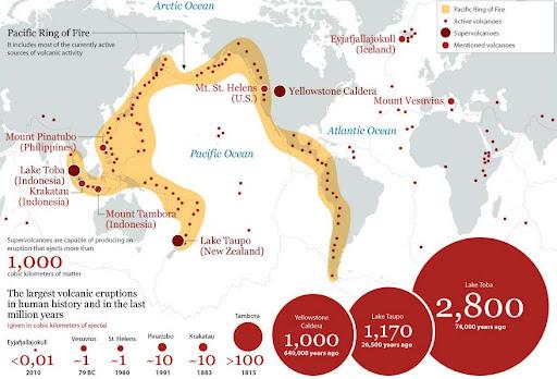 Resultado de imagen de mapa volcanes más peligrosos del mundo