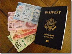passport and pesos