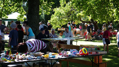 Toys and other stalls under the trees