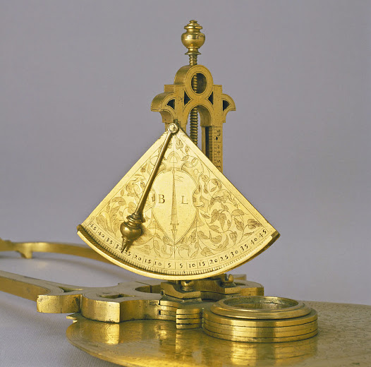 "The clinometer carries the initials of the maker, ""B.L."" (Baldassarre Lanci)"