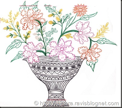 Flower Vase Rangoli Design