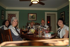 Pilgrims eat Thanksgiving Dinner