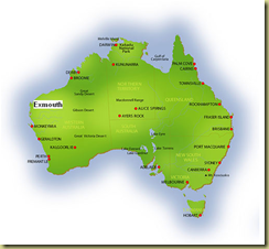 Australia Map Showing Exmouth