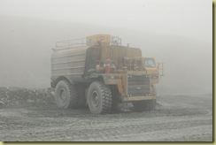 Water tanker in fog