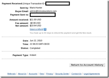 Minuteworkers payment proof