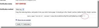 Google Verification Meta Tag
