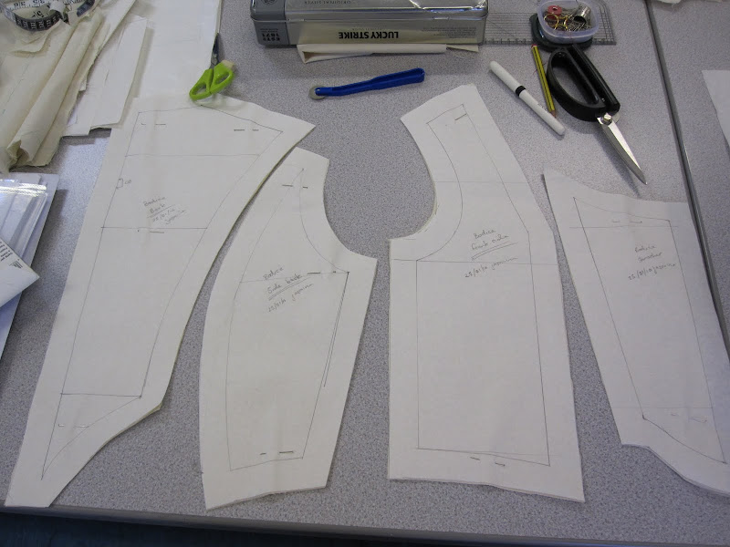 18th century period bodice pattern pieces