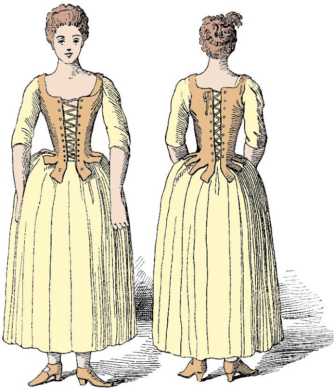 18th Century working class woman in a pair of stays - from LE CORSET A TRAVERS LES AGES published in 1896