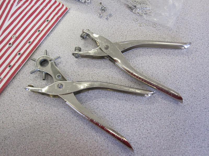 Eyeleting tools: hole punch and pliers - I wish I had a grommet/eyelet machine