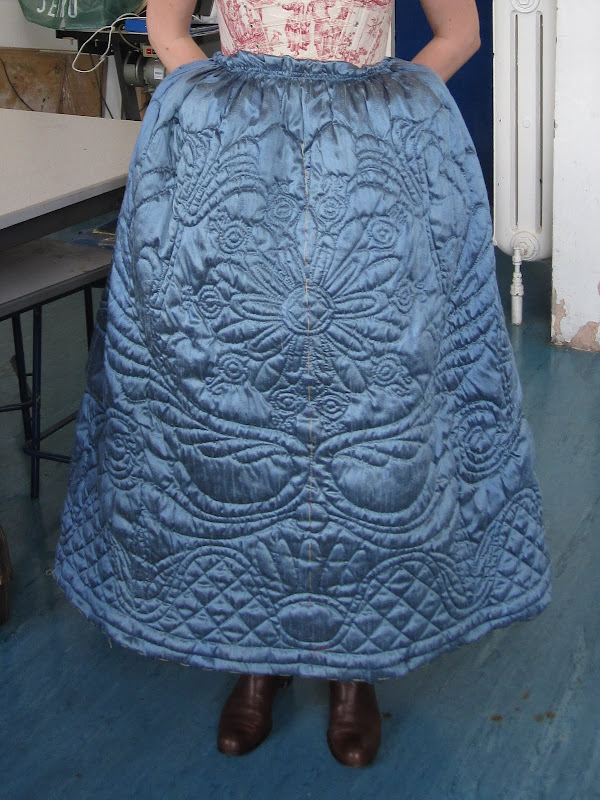 Front of Eva's quilted petticoat during fitting