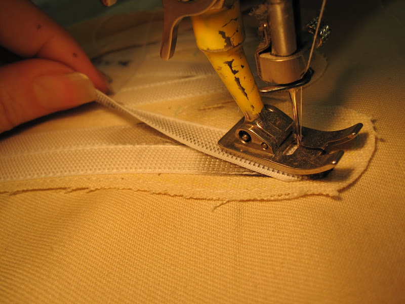 When boning overlaps - sew the side that does not overlap first, so that it cannot slip.
