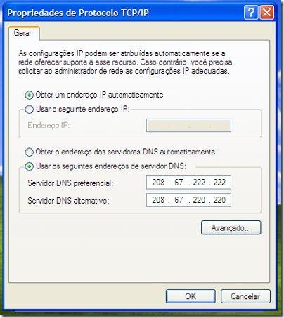 Propriedades de TCP/IP no XP
