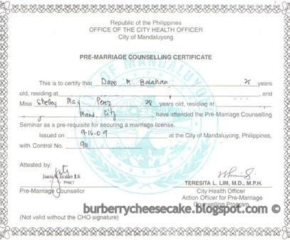 pre marriage counseling certificate template