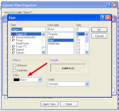 Microsoft Outlook - Font Selection Box